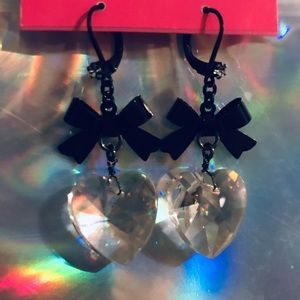 Crystal heart charm earring vintage Betsey Johnson